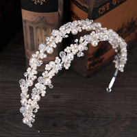 New Foreign Hot Full Handmade White Simulated Pearl Double Hoop Crystal Rhinestone Tiara Crown Bride Hairbands