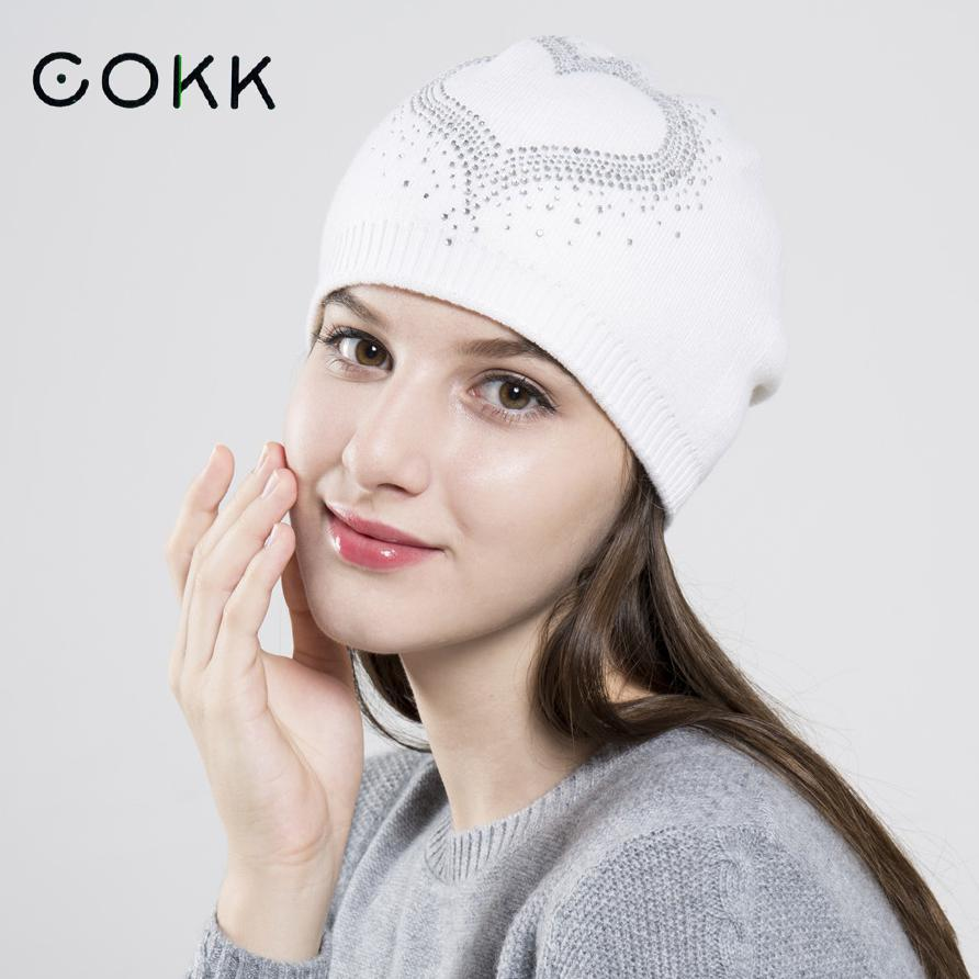COKK Winter Hats For Women Wool   Beanie   Female Rhinestone   Skullies     Beanies   Casual Outdoor Ski Knit Caps Thick Warm Stocking Hat