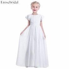 Cheap Price 2019 Chiffon Flower Girls Dresses Erosebridal Pleat Bodice Elegant Wedding Party Girl Dress O Neck FG-1454 In Stock