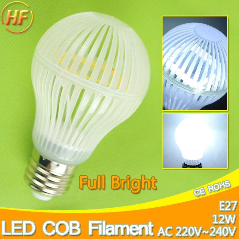 Korea Solar LED Chips E27 12W High Power COB Filament LED Bulb Light Lamp Filament bulb 9W 7W 3W Warm Cool White 220V Lampara 5w 7w cob led e27 cob ac100 240v led glass cup light bulb led spot light bulb lamp white warm white nature white bulb lamp