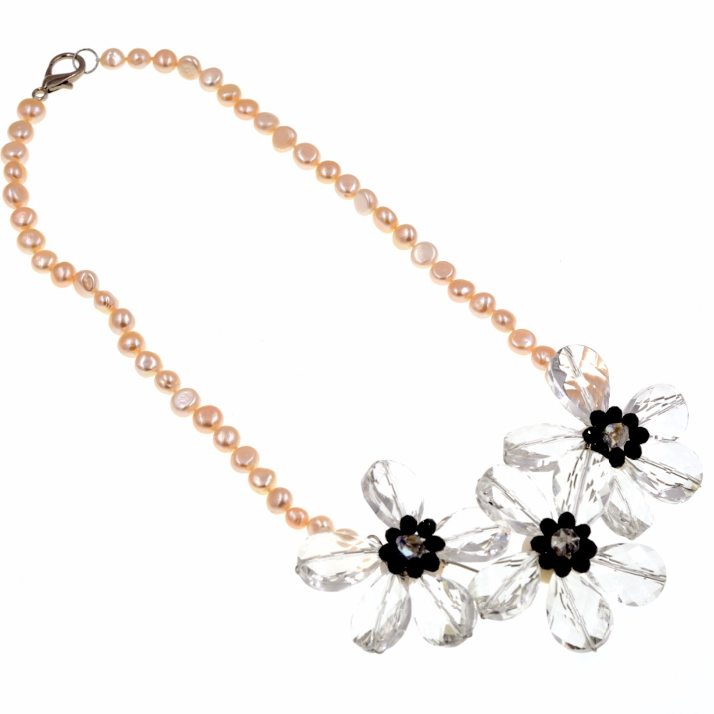 2017 new arrival Crystal woven flower Natrual pink pearl beaded chokers necklace