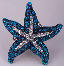 Starfish stretch ring summer fashion jewelry gifts for women antique silver plated W crystal wholesale dropship