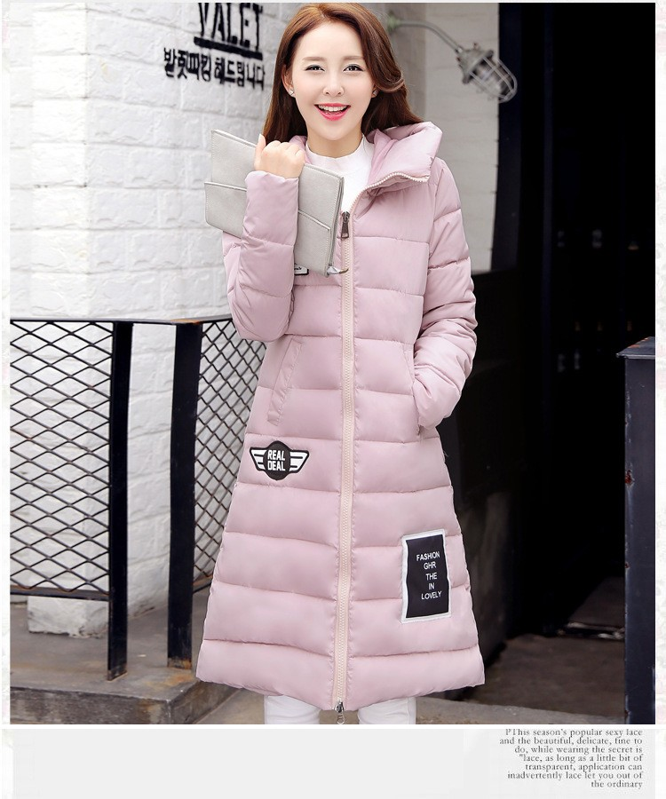 2017 New Women cotton Jacket  Winter warm coat Thick Hooded Long section  Plus Size Down Cotton-padded Jacket Parka Slim Coat winter women down cotton coat long section thick warm cotton jacket solid color wild pockets zipper casual jacket loose parka