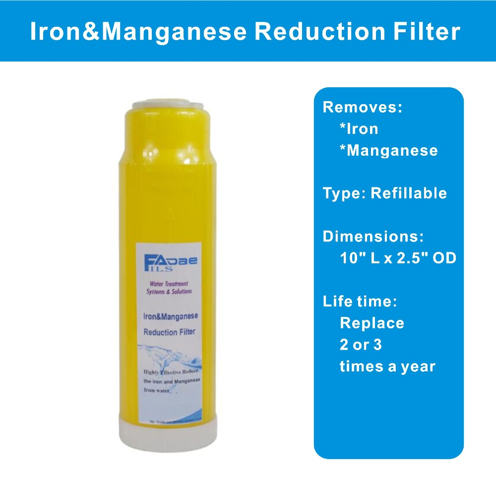 Iron ,Manganese Reduction Water Filter 10 L x 2-3/4 OD refillable fit for standard 10 inch water filter housing