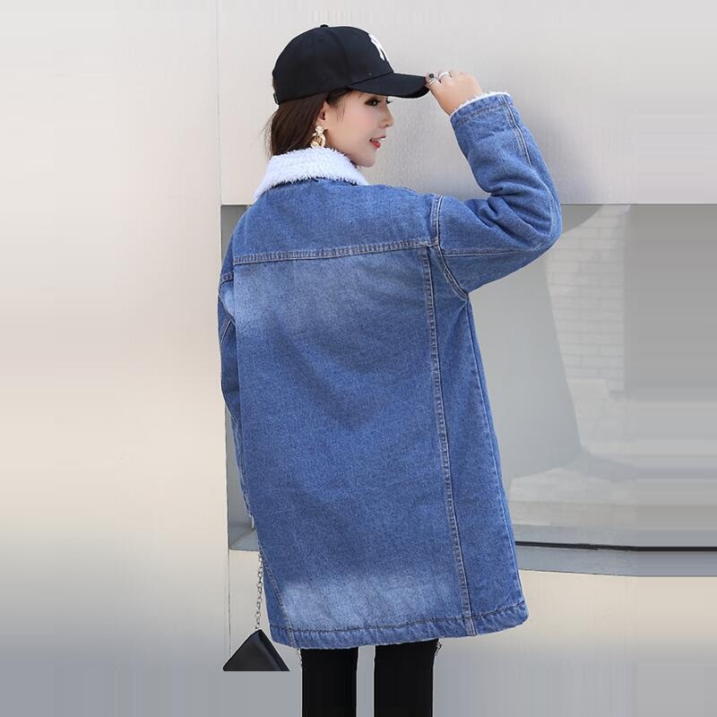 Buttons Jacket Autumn Coats New Jean Outerwear Winter Blue Single Coat royal Basic Long Denim Women Patchwork Blue Femme Sxgqw
