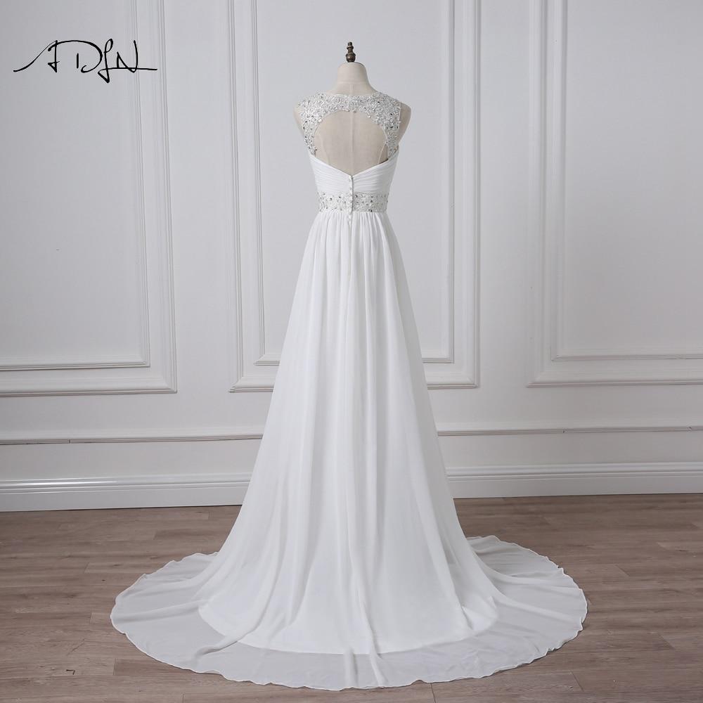 V-Neck Sleeveless Long Pleat Crystals Beaded Chiffon A-Line Wedding Dress 2