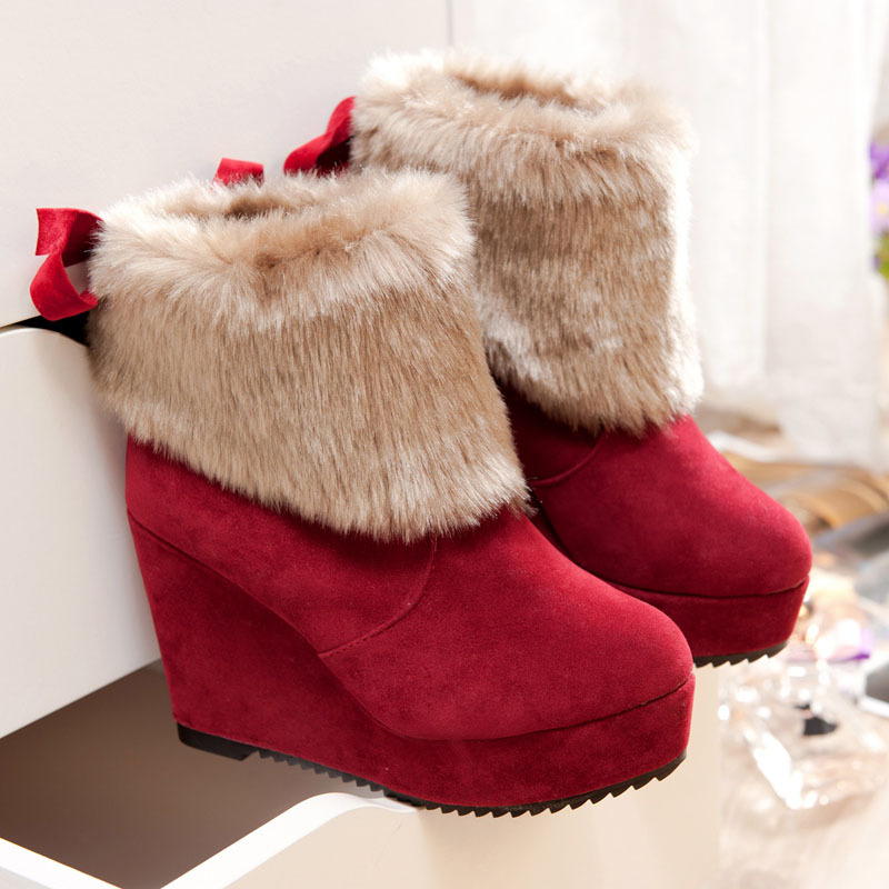 ФОТО 2016 Real Lace Ankle Lace-up Boots Botas Mujer The New Spot Increased Warm Color Boots Villi Flanging Slope With High-heeled