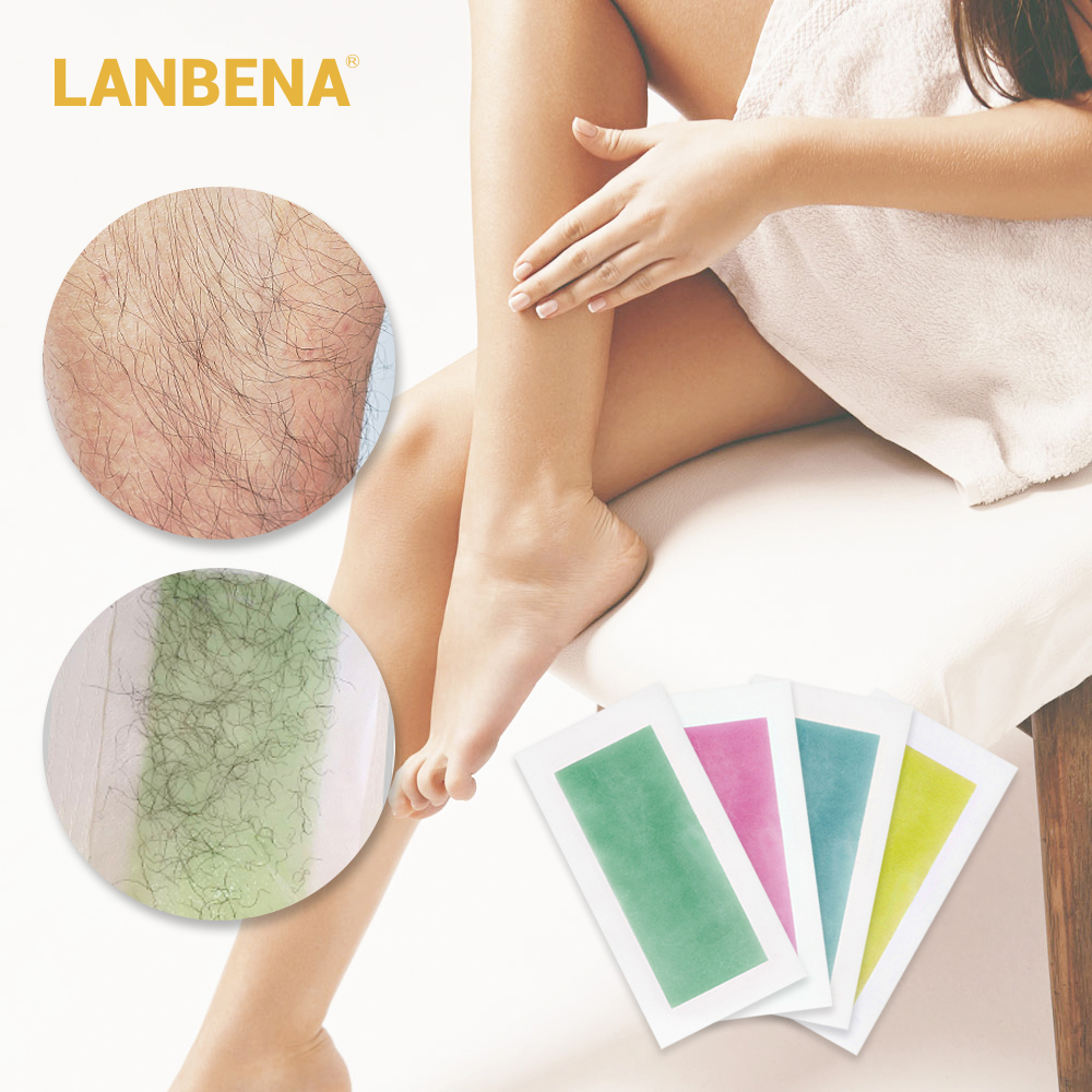 LANBENA 20pcs Summer Professional Hair Removal Wax Strips For Depilation Double Sided Cold Wax Paper For Bikini Leg Body Face