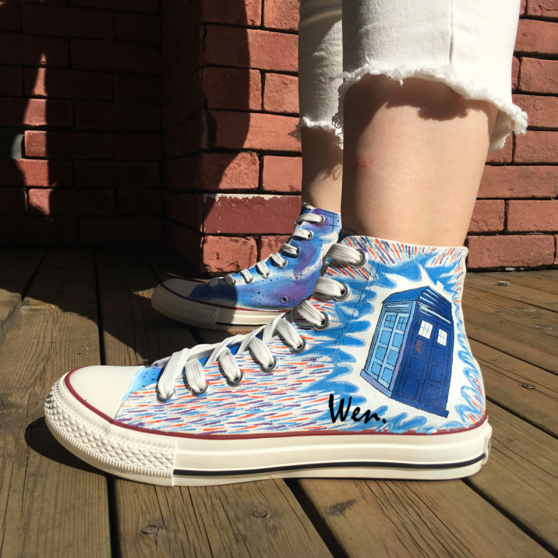 Colorful High Top Personalized Shoes Doctor Who Tardis Men Women ... 1cf7354cc87f