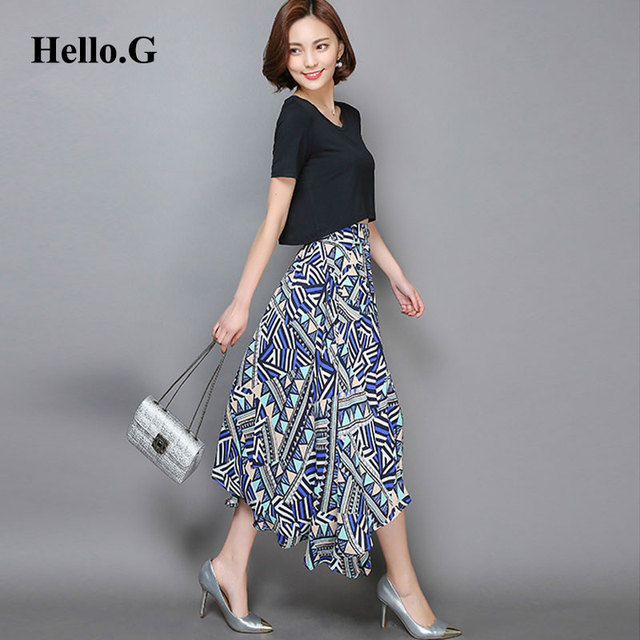 2 Piece Sets Women 2016 Summer Short Sleeve Black Crop Top and Skirt Ladies Bohemian Beach Printed Long Skirt Two Piece Sets