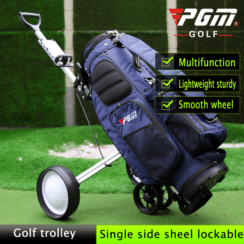PGM Foldable Golf Trolley Cart Aluminium Alloy with scorecard Cover Holder Push Pull Golf Cart with