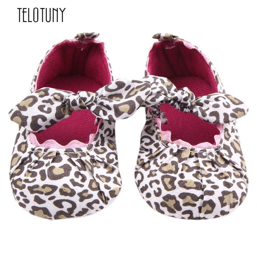 TELOTUNY Toddler Kids Baby Girls Leopard Elastic band Bowknot Newborn Shoes Bowknot Anti-slip Soft S3MAR7