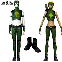 Ling Bultez High Quality Young Justice Cosplay Artemis Costume With Shoes Tailor Made Super Hero Girl Costume