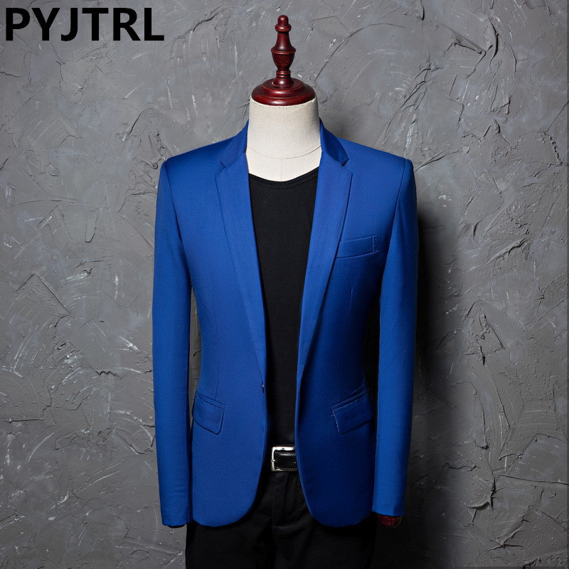 PYJTRL Brand Fashion Casual Leisure Suit Jacket Coat Royal Blue Men Blazer Slim Fit Designs Masculino Stage Costumes For Singers
