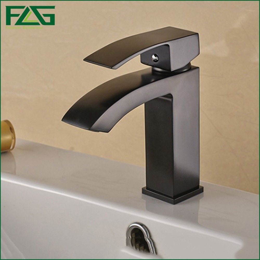 ФОТО FLG Black Square Basin Faucet Oil Rubbed Bronze Bathroom Faucets Cold & Hot Robinet Deck Mounted Container Basin Mixer Tap M067