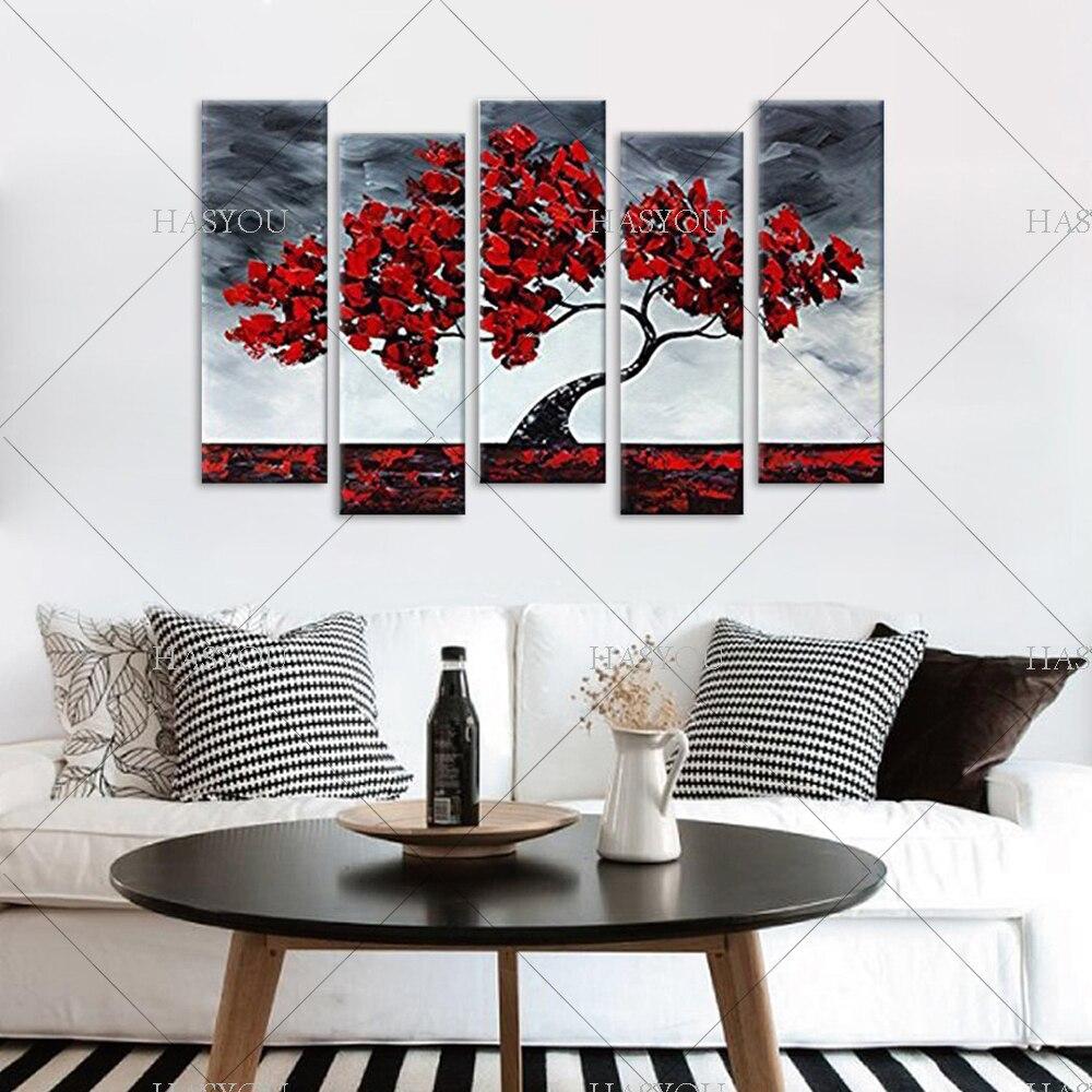 Livraison gratuite, 5 pièces peinture à l'huile abstraite moderne sur toile, peinture à l'huile de fleur chinoise - 3