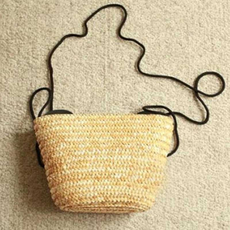 New Ladies Shopping Bags Cute mouse handmade Straw weave Summer Beach Shoulder Bag Straw women Girls Grass Casual Totes 2