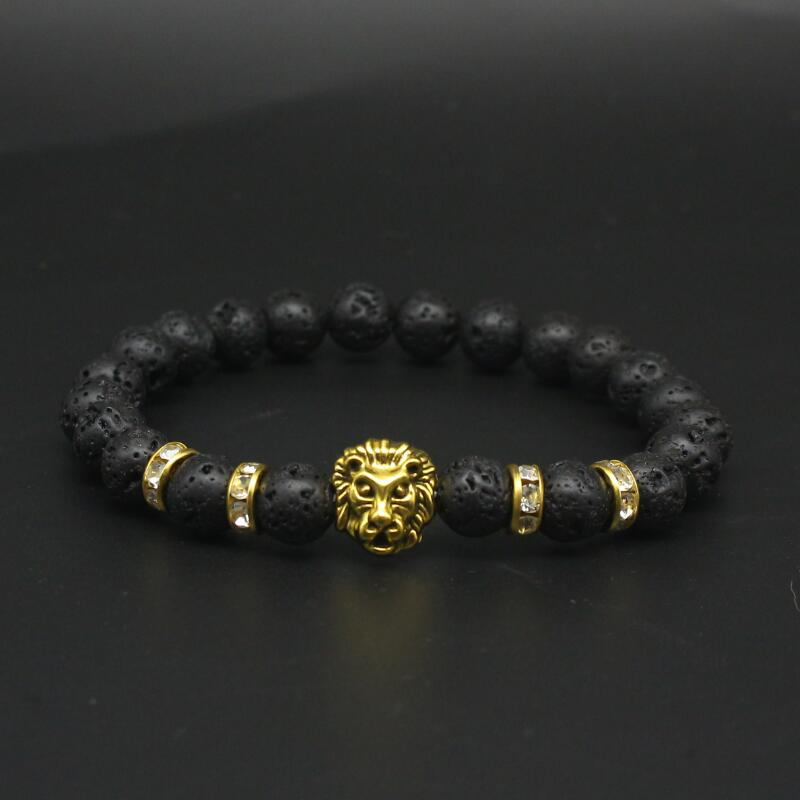 Cute Bear Brand Lion Head Bracelet Men Black Matte Volcano Lava Stone Bracelet Red Turquoises Beaded Bracelets For Women Jewelry men beaded bracelet red