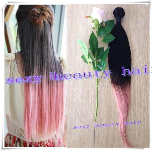 Black Pink Ombre Hair Light Pink Ombre Hair Weft Two Tone Human Hair