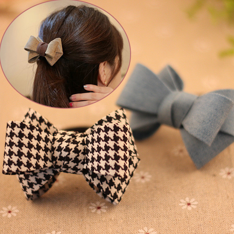 1PCS New fashion Bow Hair Clip   Headwear   Hair accessories for women Korean Hair Ring Double Rope Elastic Hair Tie Ponytail Holder