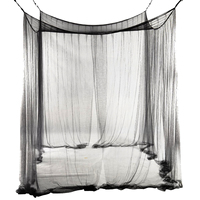 4-Corner سرير شبكية الستارة البعوض صافي ل الملكة/الملك الحجم سرير 190*210*240 سنتيمتر (أسود)