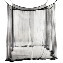 4-Corner Bed Netting Canopy Mosquito Net for Queen/King Sized 190*210*240cm (Black)