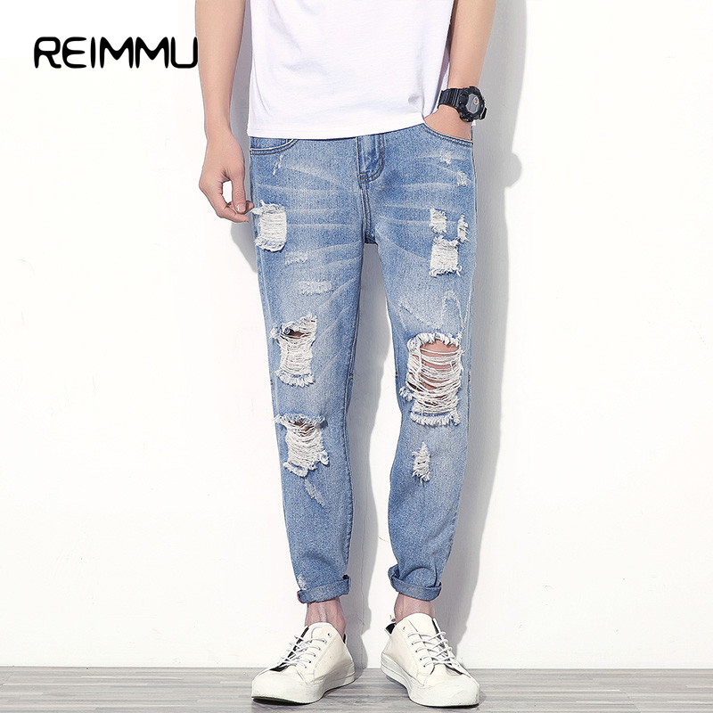 Aliexpress.com  Buy Famous Brand Ankle Length Ripped Jeans Men High Quality Hole Mens Jeans ...