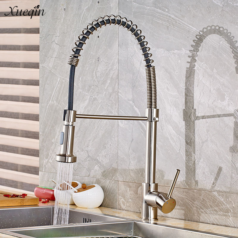 где купить Xueqin Luxury Kitchen Faucets Single Handle Pull Out Kitchen Tap With Swivel Spout Water Mixer Tap по лучшей цене
