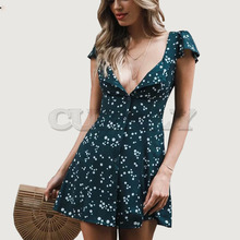 Cuerly Bow sashes button slim short print dress Floral sexy party chiffon dress female vestidos Summer daily beach dress womenL5