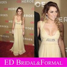 Miley Cyrus Kleid Halter Spaltung Enthüllt Perlen Prom Abendkleid Berühmtheits-roter Teppich Kleid