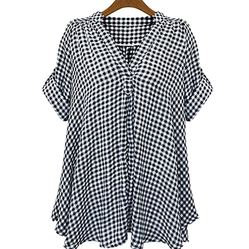 Frühling Herbst Casual Frauen Plaid Bluse Kurzarm Kleidung Weibliche - Damenbekleidung - Foto 2