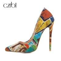 CZRBT גרפיטי קסם חלום צבע תמהיל אופנה נשים עקבים גבוהים נעלי 12 ס