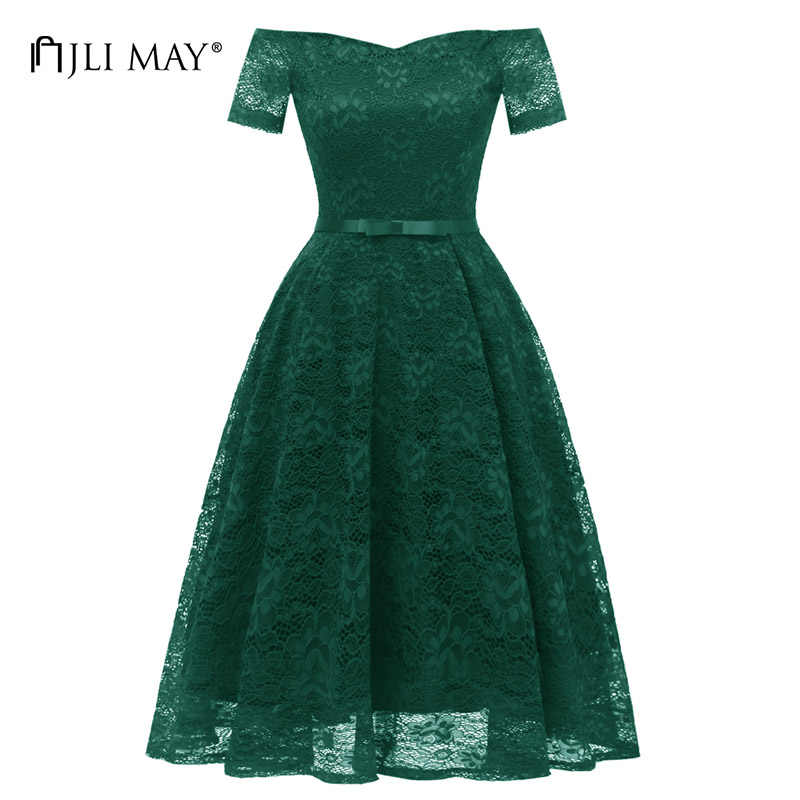 JLI MAY Women sexy off shoulder party dress lace spring summer belted short  sleeve fit flare bbca88f05611