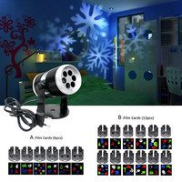 Christmas Snow Laser Projector Outdoor LED Fairy Light Projection Film Cards Wedding Christmas Decoration For Home