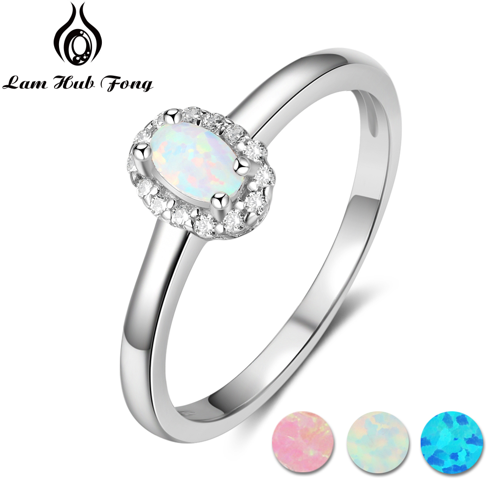 Women 925 Sterling Silver Rings Created Oval Blue Pink White Fire Opal Ring With Zircon Romantic Gift 6 7 8 Size (Lam Hub Fong) equte rssw28c1s7 elegant women s titanium steel zircon ring silver usa size 7