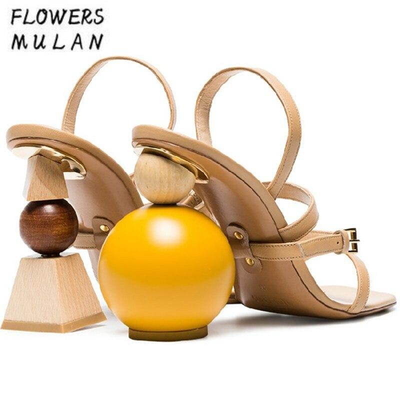 Novedad asimetría anómala estilo extraño tacones de cadena de cuentas tacones altos sandalias de verano de Mujer Zapatos de vestir de tacón de bloque de construcción-in Sandalias de mujer from zapatos    1