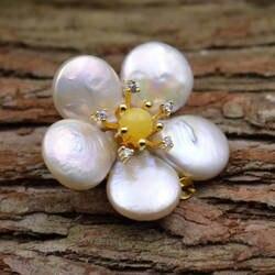 Amxiu ручной работы натуральный жемчуг в форме броши Настоящее Позолоченные булавки пчелиный воск цветок брошь двойного назначения кулон