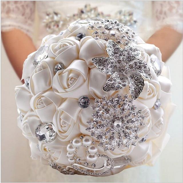 30 Choose Colors Sparkle Crystal Beaded Wedding Flowers Bouquet Bridesmaid Bride Bridal Brooch Bouquet New Buque De Noiva W227