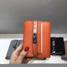 Kafunila famous brand cow leather wallet women genuine designer female clutch bag coin card holder womens short purse