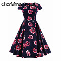 charMma 2017 Spring New Women Vintage Women Ball Gown Summer Short Sleeve 1950s 60s Big Swing Rockabilly Party Female Vestido