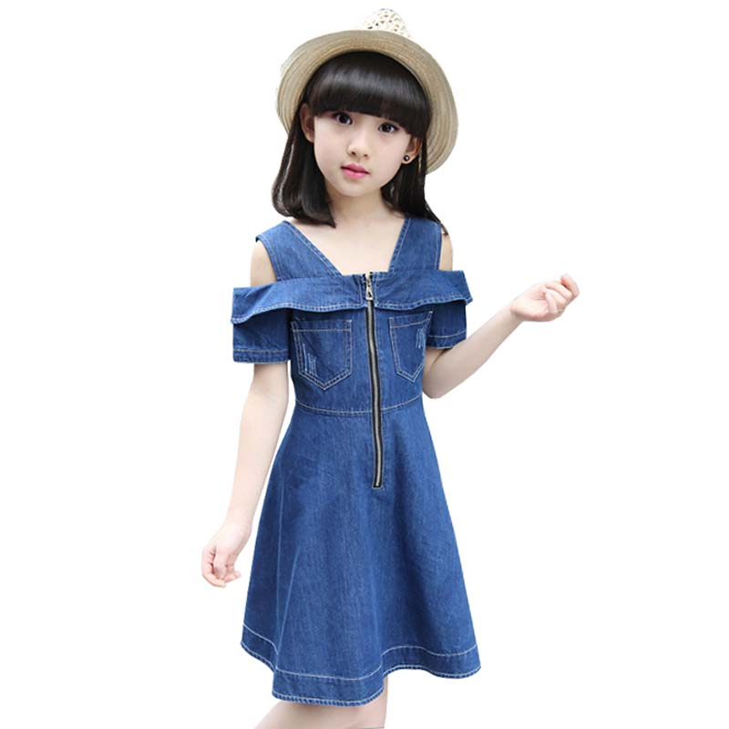 Girls Dresses Kids Girl Denim Strapless Dress Off Shoulder Summer Dress 2017 Party Dress Children Clothing 4-12 Years Vestidos summer 2017 new girl dress baby princess dresses flower girls dresses for party and wedding kids children clothing 4 6 8 10 year