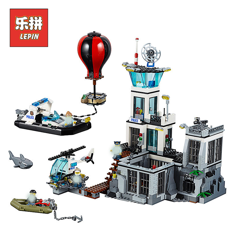 Lepin Building Blocks City Police 02006 Prison island Compatible Legoinglys 60130 Bricks Model Educational Toys for Children цена