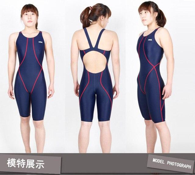 09d56a656ebb Competencia NSA rodilla longitud entrenamiento y las carreras de las  mujeres del traje de baño de una pieza baño impermeable