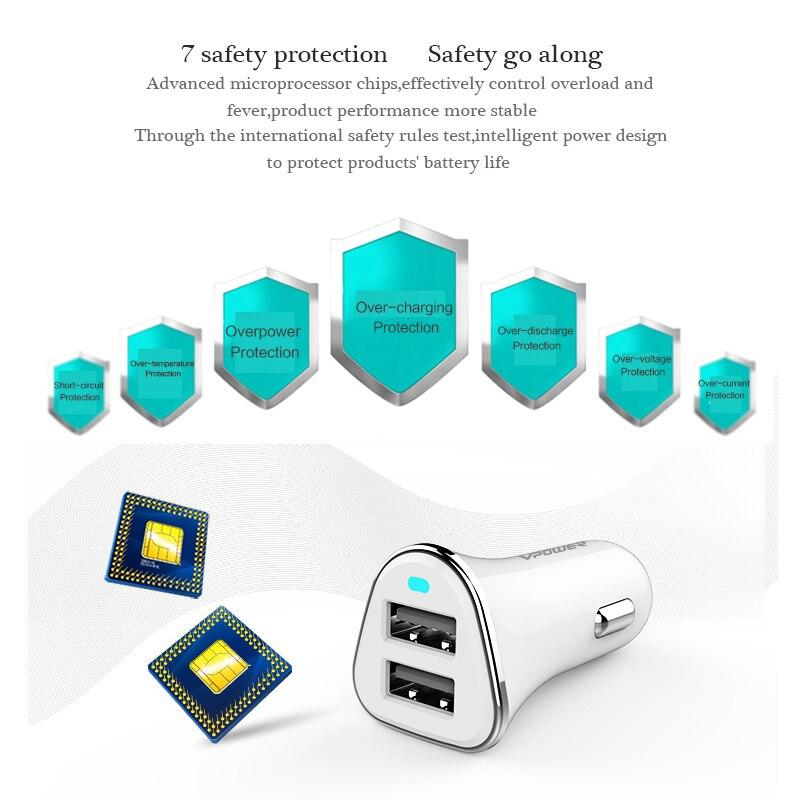 USB Car Charger Vpower İkiqat USB Şarj Çıxarış 2.4A Sürətlə - Cib telefonu aksesuarları və hissələri - Fotoqrafiya 2