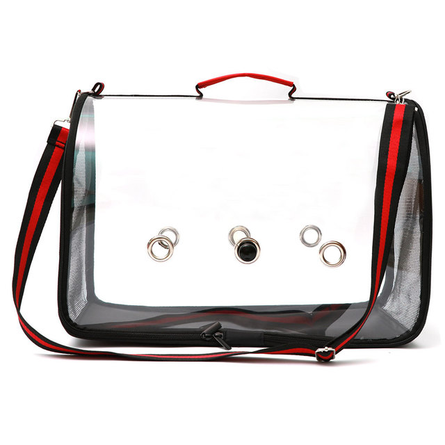 Newly Lightweight Bird Carrier Cage Transparent Clear PVC Breathable Parrots Travel Bag XSD88 4
