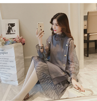 2018 winter maternity props lace voile dresses pregnant dress for pregnante woman maternity clothes long lace mesh dress clothes