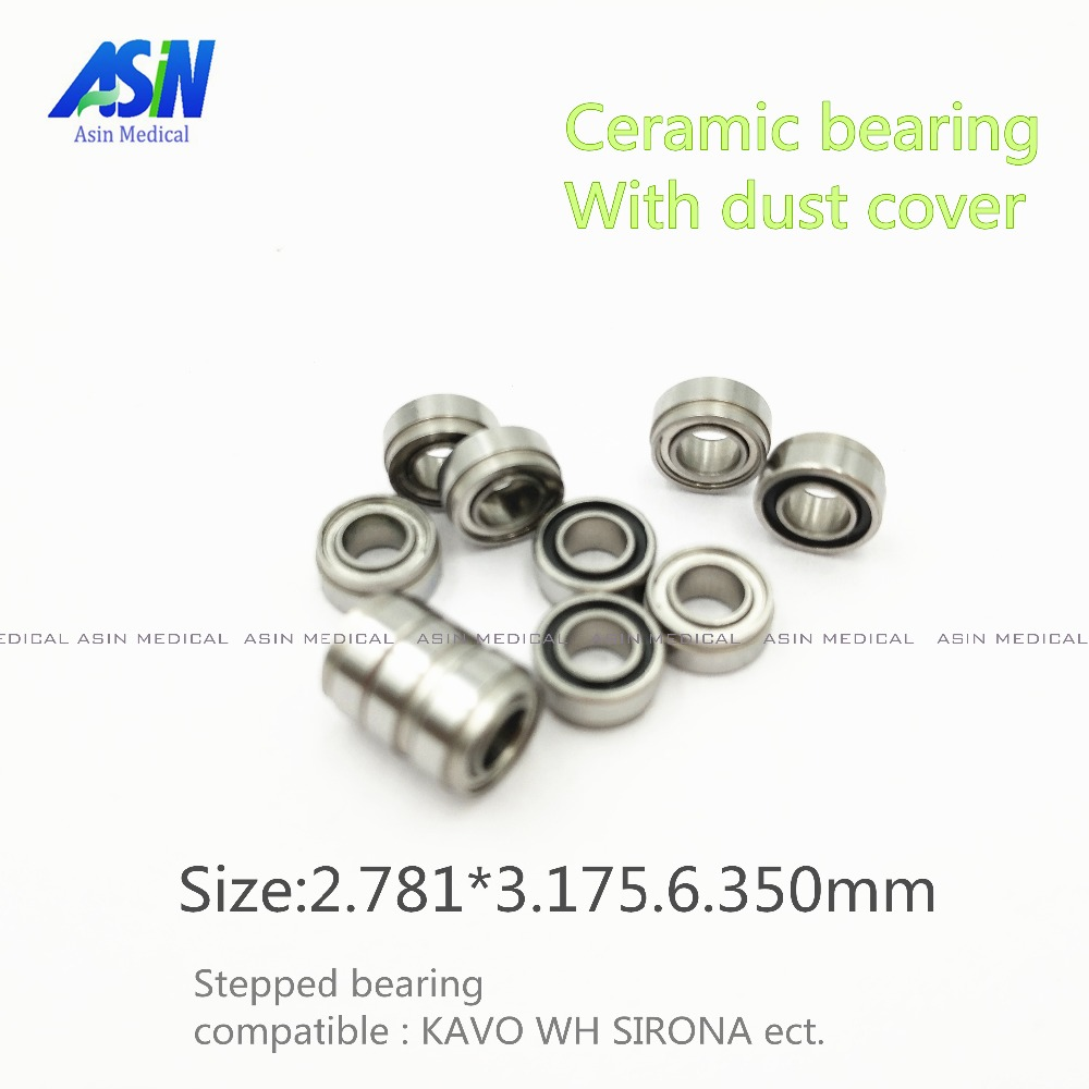 KAVO compatible handpiece bearing dental bearings ceramic balls with dust cover 10pcs stepped bearing
