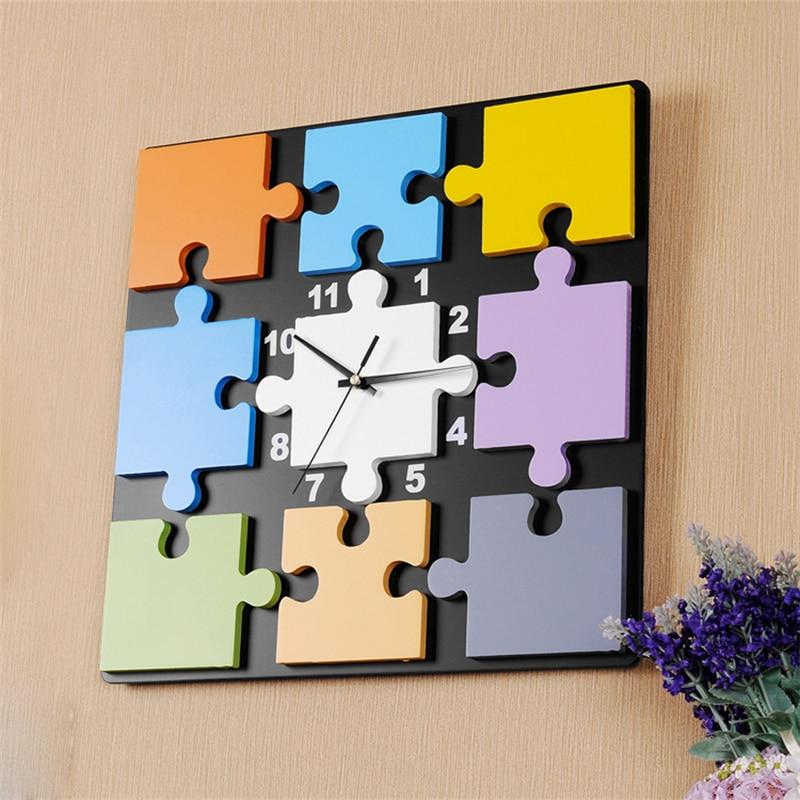 Decorative Modern Wooden Wall Clock Home Decor Design Parede European Style Ikea Quiet Large Frameless