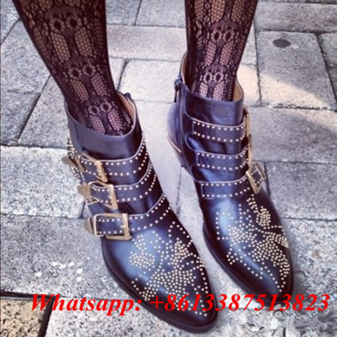 Fall Winter Fashion Booties Belt Buckle Studded Ankle Boots Leather Side Zip Stacked Heels Motorcycle Boots Women Shoes Woman