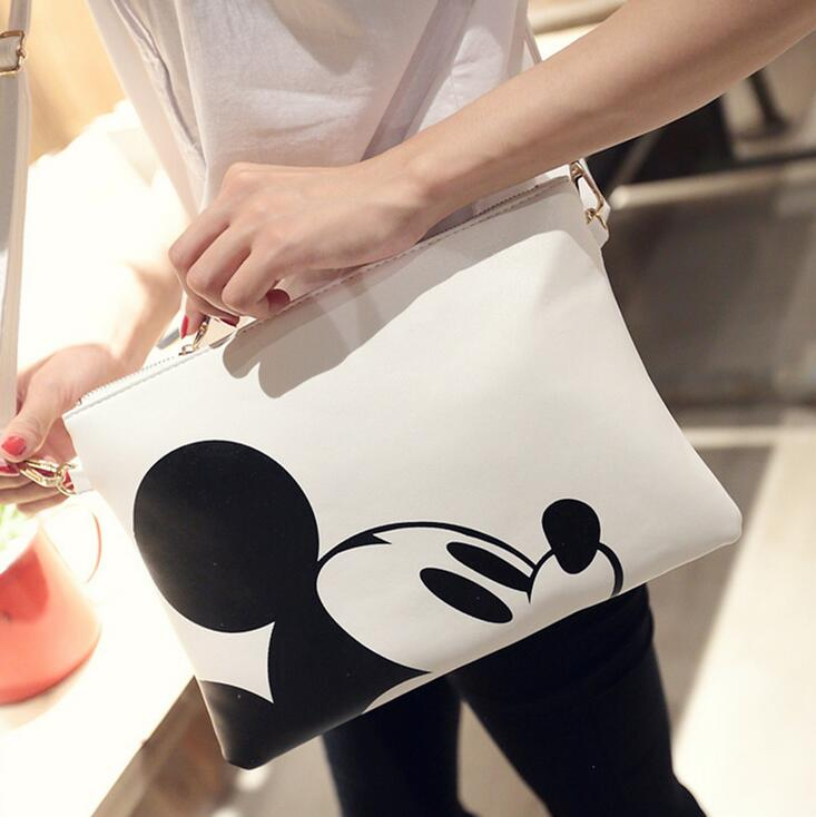 2017 Fashion New handbags Quality PU leather Women bag Cartoon printing Hand bag Mickey envelope Minnie bag Shoulder bag